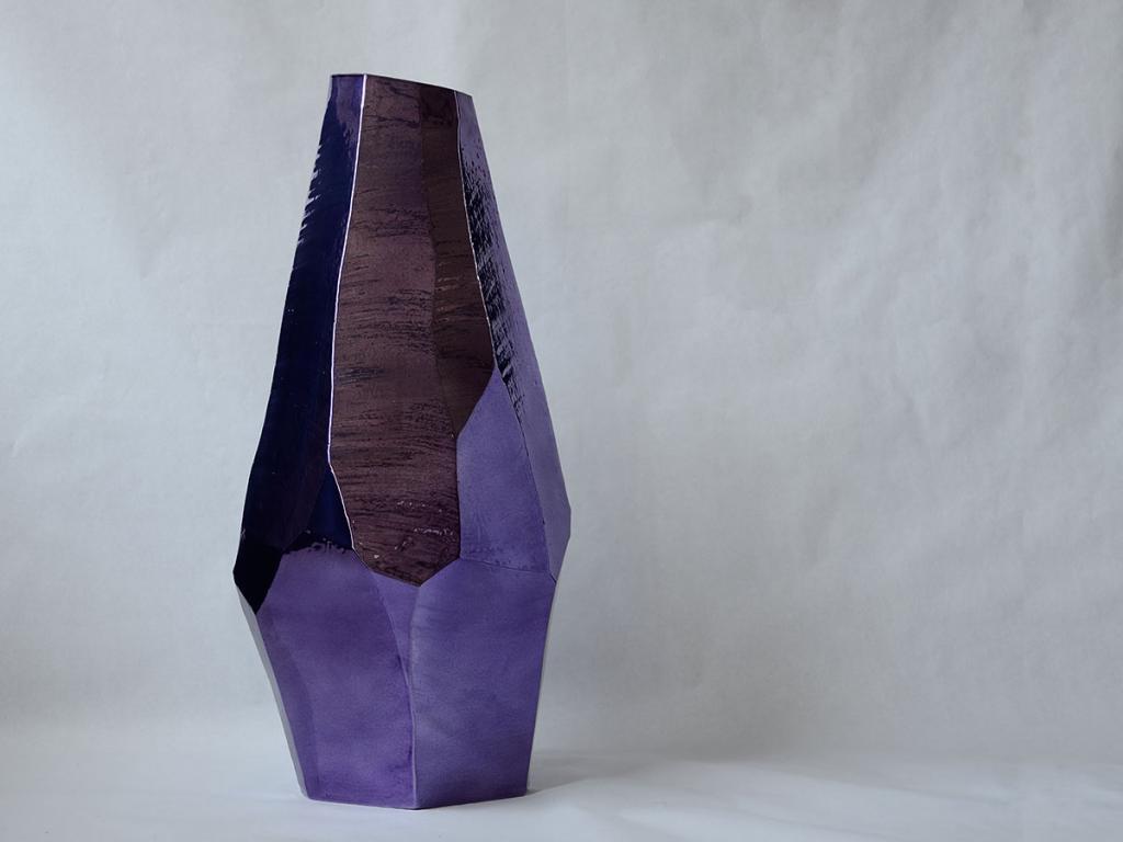 large vase faceted, purple