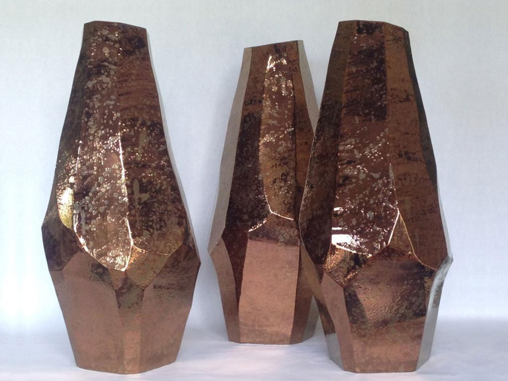 three beautiful large vases, Oxidized Bronze