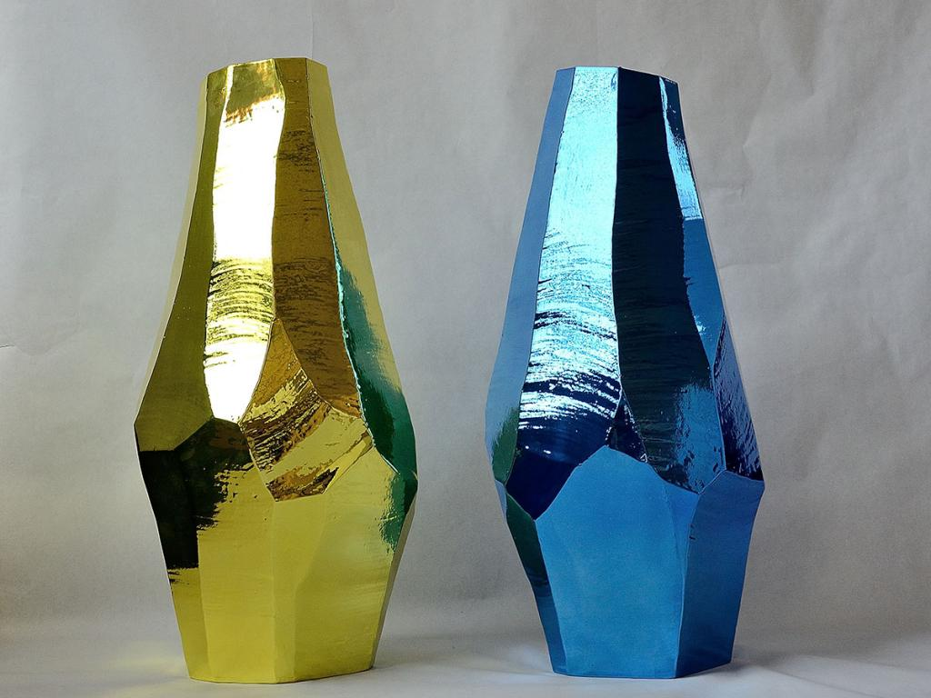 two interesting large vases, yellow and blu