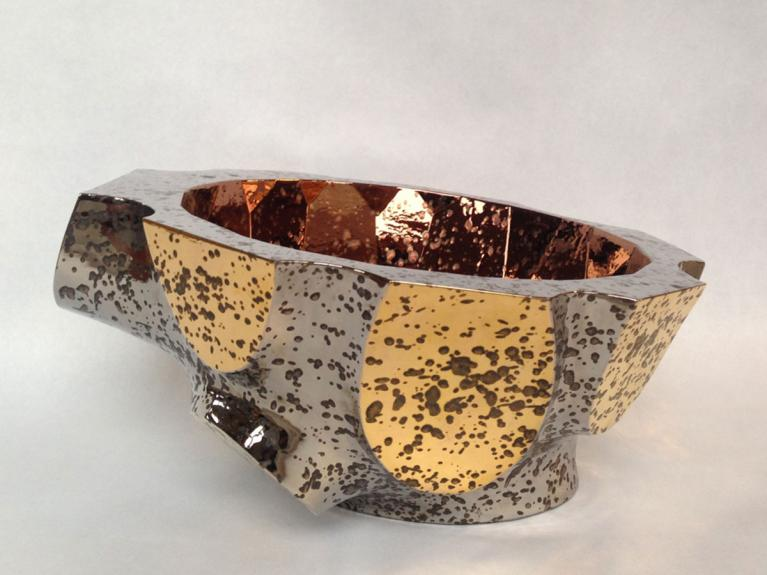 very big bowl, platinum and gold outside, bronze luster inside